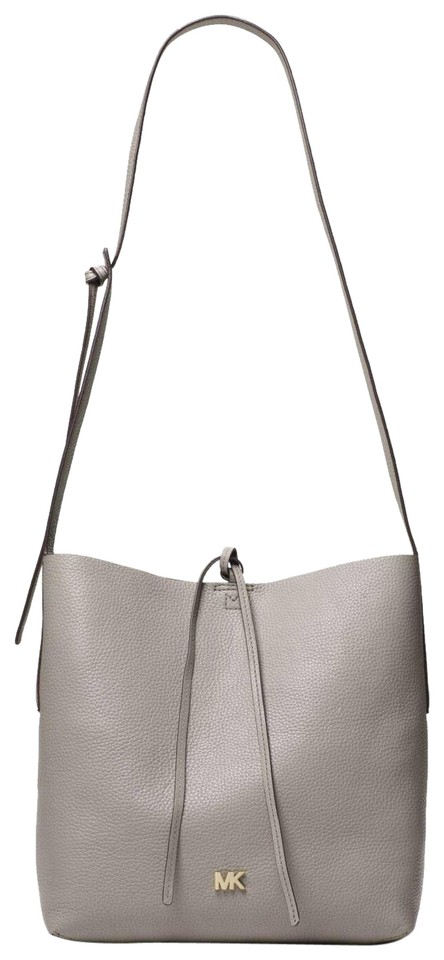 2e9e5abc5961 Michael Kors Shoulder Junie Large Pearl Gray Leather Messenger Bag ...