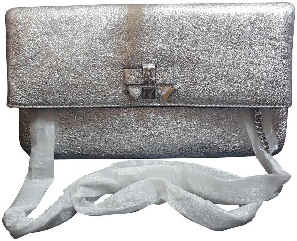 a4345f1f5396 MICHAEL Michael Kors Everly Medium Fold Over Silver Leather Clutch ...