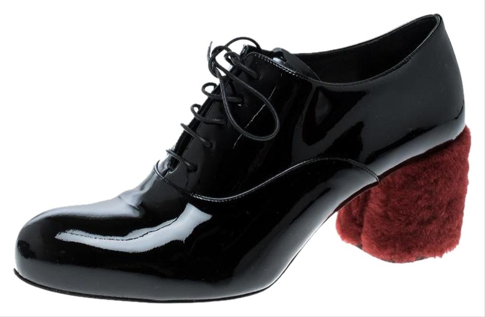 Miu Miu Black Patent Leather Red Shearling Fur Heel Oxfords Formal Shoes 6e33af9c8836