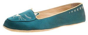 Charlotte Olympia Satin Leather Green Flats