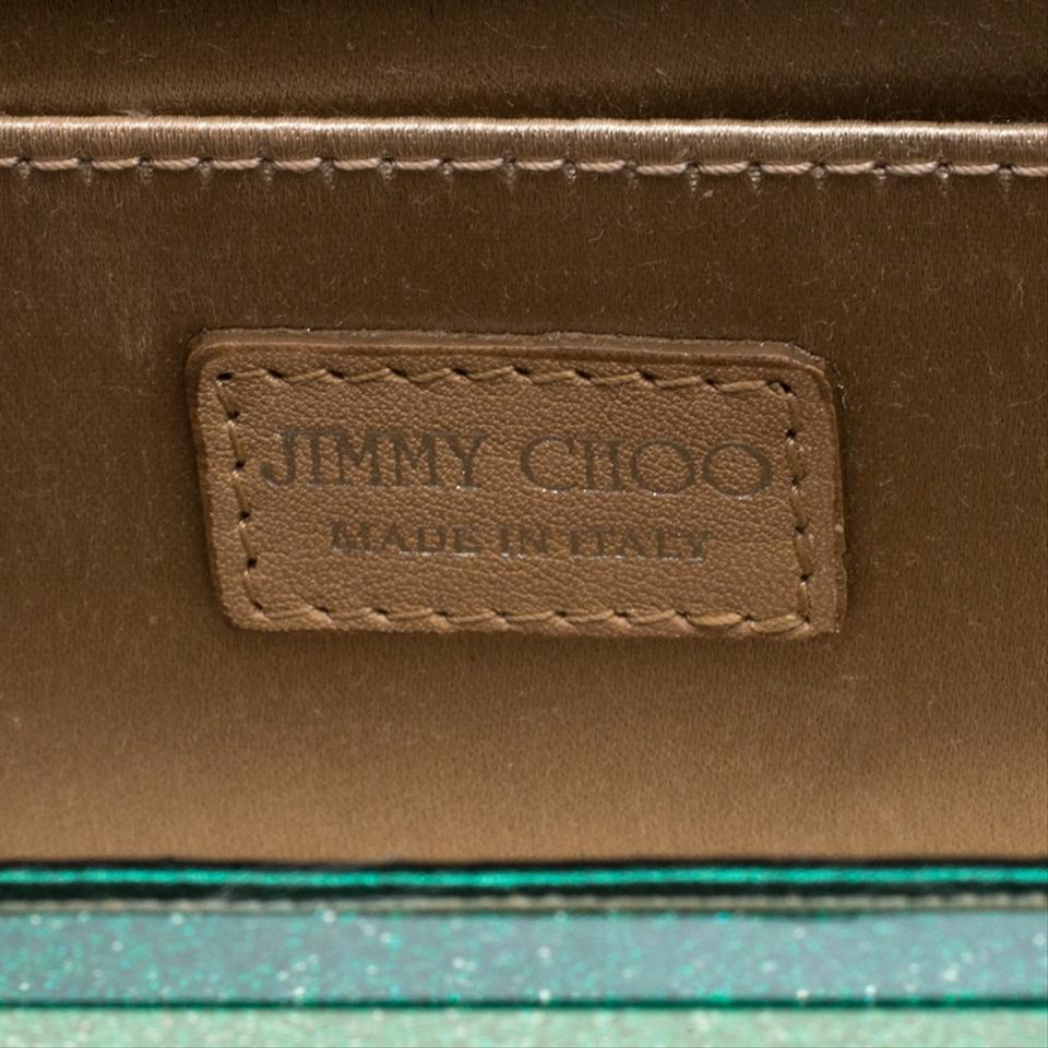 463035ec61 Jimmy Choo Glitter Acrylic Sweetie Green Leather Clutch - Tradesy