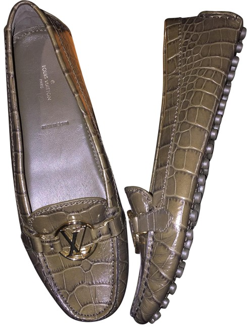 Item - Green Dauphine Crocodile Alligator Embossed Leather Loafers Driving Smoking Slippers Flats Size EU 37.5 (Approx. US 7.5) Regular (M, B)