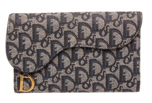 Dior Christian Dior Blue Gray Monogram Canvas Leather Saddle Wallet