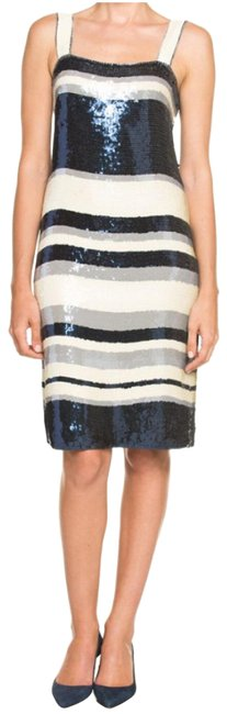 Tory Burch Navy Blue/White Nautical Edna Sequin Stripe Mid-length Cocktail Dress Size 2 (XS) Tory Burch Navy Blue/White Nautical Edna Sequin Stripe Mid-length Cocktail Dress Size 2 (XS) Image 1