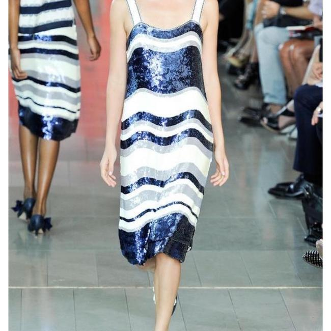 Tory Burch Navy Blue/White Nautical Edna Sequin Stripe Mid-length Cocktail Dress Size 2 (XS) Tory Burch Navy Blue/White Nautical Edna Sequin Stripe Mid-length Cocktail Dress Size 2 (XS) Image 2