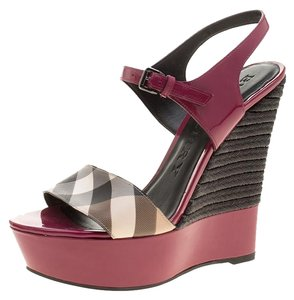 Burberry Patent Leather Canvas Platform Rubber Leather Magenta Wedges