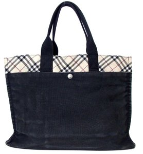 Burberry Beige Nova Leather Tote in Large Black multi