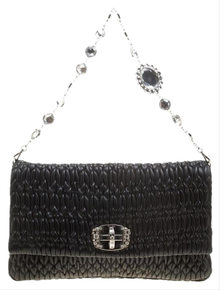 Miu Miu Matelassé Crystal Black Leather Shoulder Bag - Tradesy f5477dcd0e29a