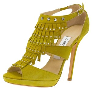 Jimmy Choo Suede Studded Leather Yellow Platforms