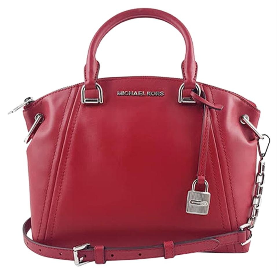 3b09b4de6ac1 Michael Kors Messenger Sadie Medium Red Smooth Leather Satchel - Tradesy