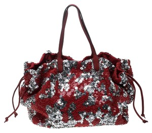 Valentino Sequins Leather Tote in Red/Silver