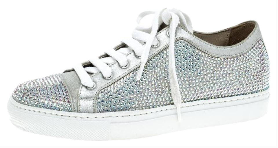 a0c0b936e0f Le Silla Grey Crystal Embellished Suede Lace Up Sneakers Platforms. Size   EU 37 ...