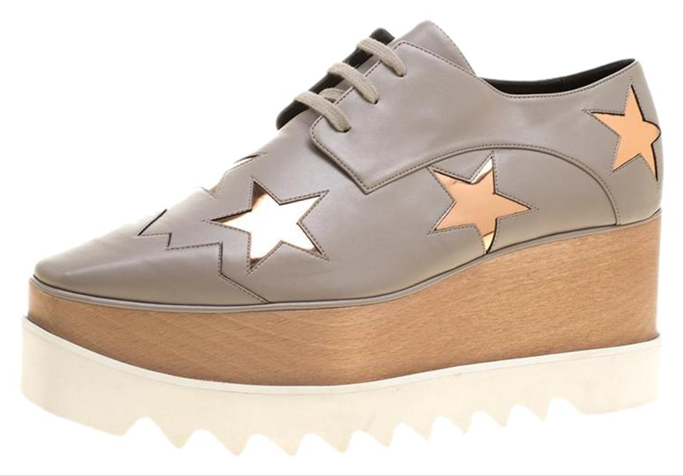 dd8f223804a Stella McCartney Beige Faux Leather Elyse Star Lace Up Derby Platforms