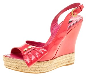 Louis Vuitton Patent Leather Peep Toe Slingback Pink Wedges