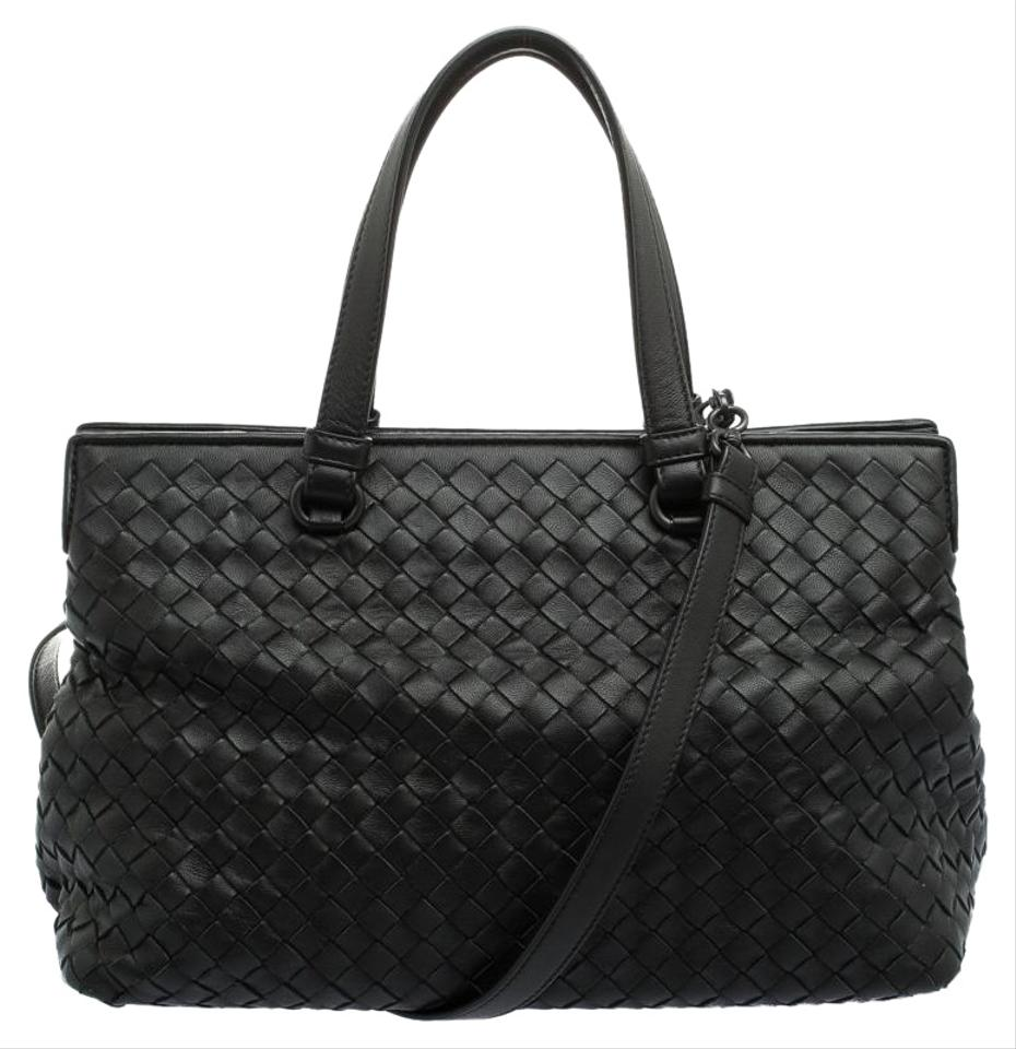 639777fd753a Bottega Veneta Intrecciato Nappa Medium Top Handle Black Leather Tote