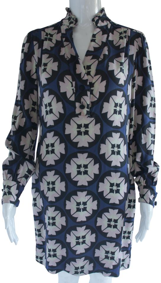 7662894141033 Diane von Furstenberg Navy Blue Pink Cream Geometric Floral Print Shift  Work Office Dress. Size  4 ...
