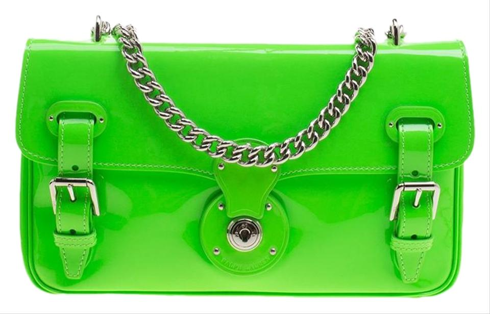 bacddffb12 Ralph Lauren Neon Patent Ricky Chain Green Leather Shoulder Bag ...