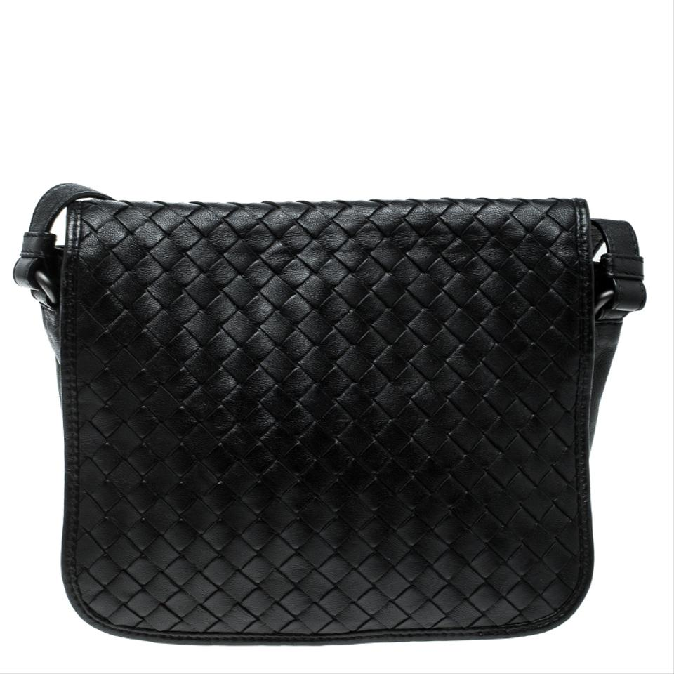 Bottega Veneta Intrecciato Full Flap Black Leather Cross Body Bag ... c38dd3cce8094