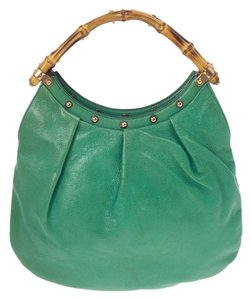 Gucci Leather Bamboo Canvas Studded Hobo Bag