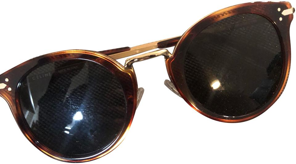 1cf6b49cb1f Céline Brown and Gold Lea 41373s Sunglasses - Tradesy