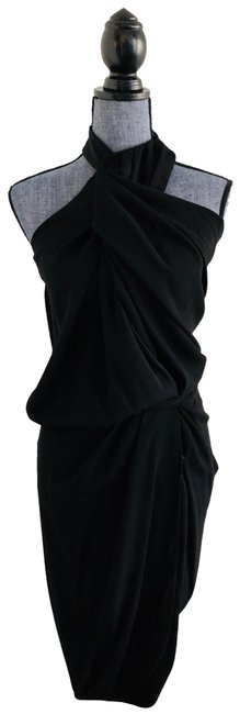 Item - Black Halter Wrap Mid-length Night Out Dress Size 4 (S)
