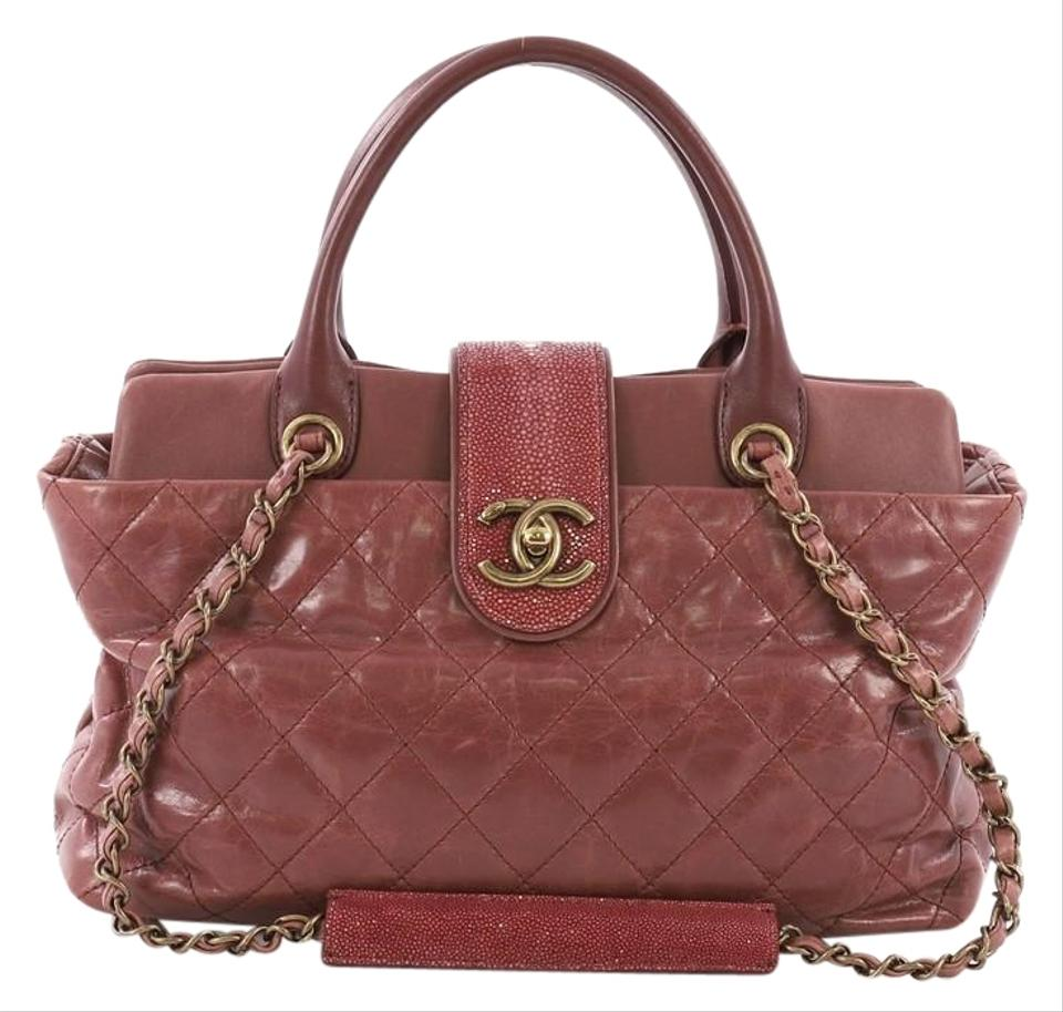 737588c06750 Chanel Bindi Quilted with Stingray Medium Mauve Pink Leather Tote ...