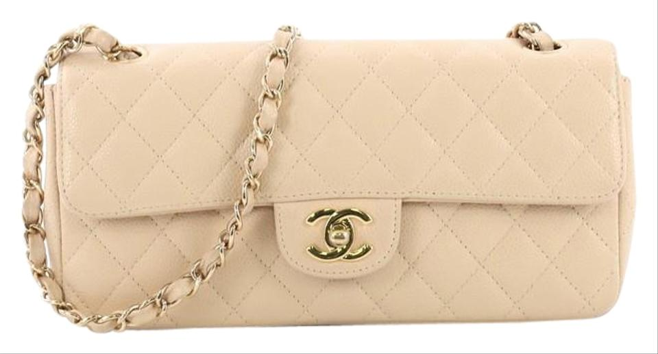 0935ea6a192 Chanel Classic Flap East West Classic Single Quilted Nude Caviar Leather Shoulder  Bag