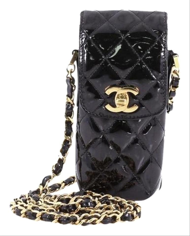 58ac80c1643a7a Chanel Cc Flap Phone Holder Quilted Black Patent Leather Cross Body ...