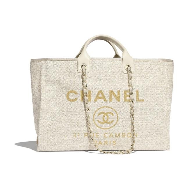 Item - Deauville Bag Med Large 2018/2019 Gold/Ivory Canvas Tote