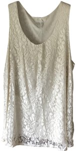 INC International Concepts Fully Lined U-shaped Neckline Pleating Accent Machine Washable Top Cream Lace