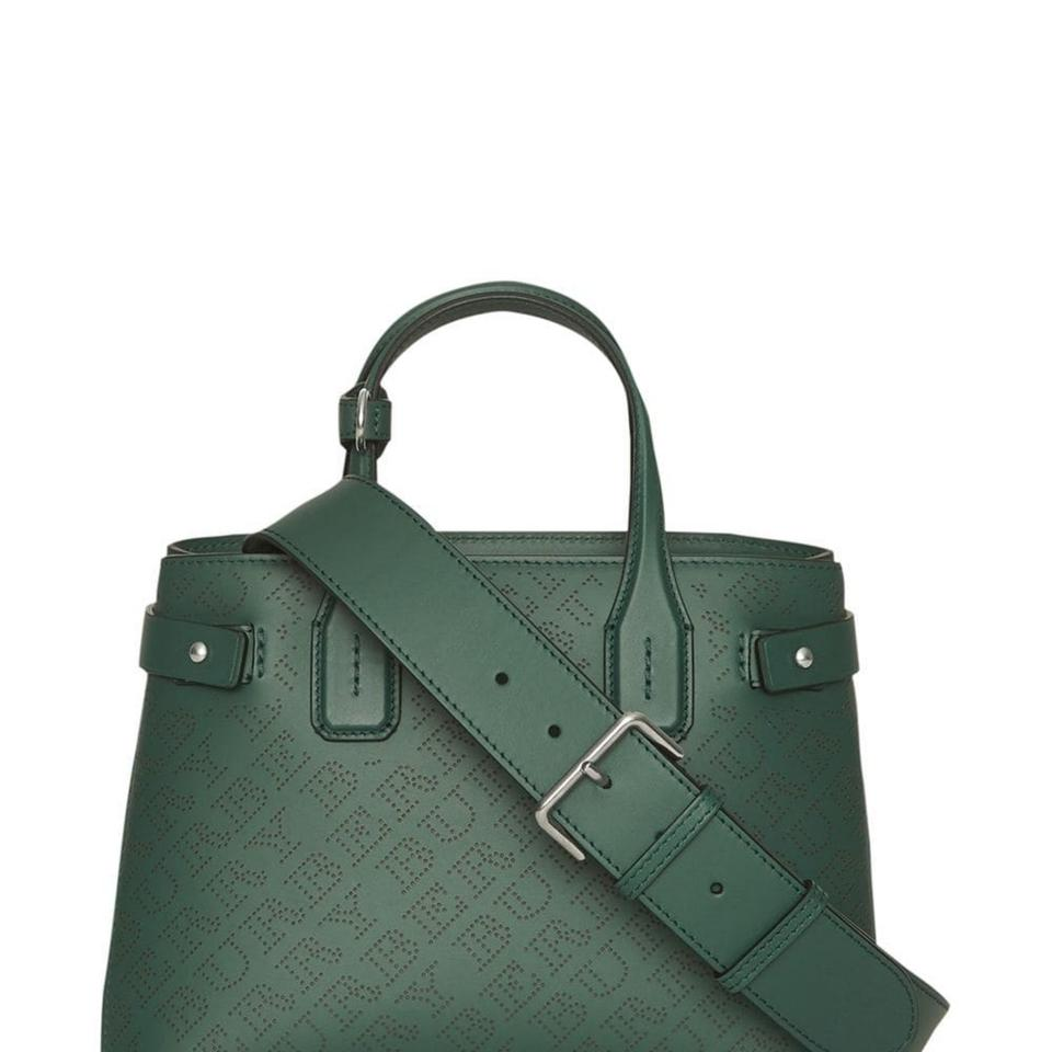 735b22657a06 Burberry Small Banner Perforated Logo Green Leather Satchel - Tradesy