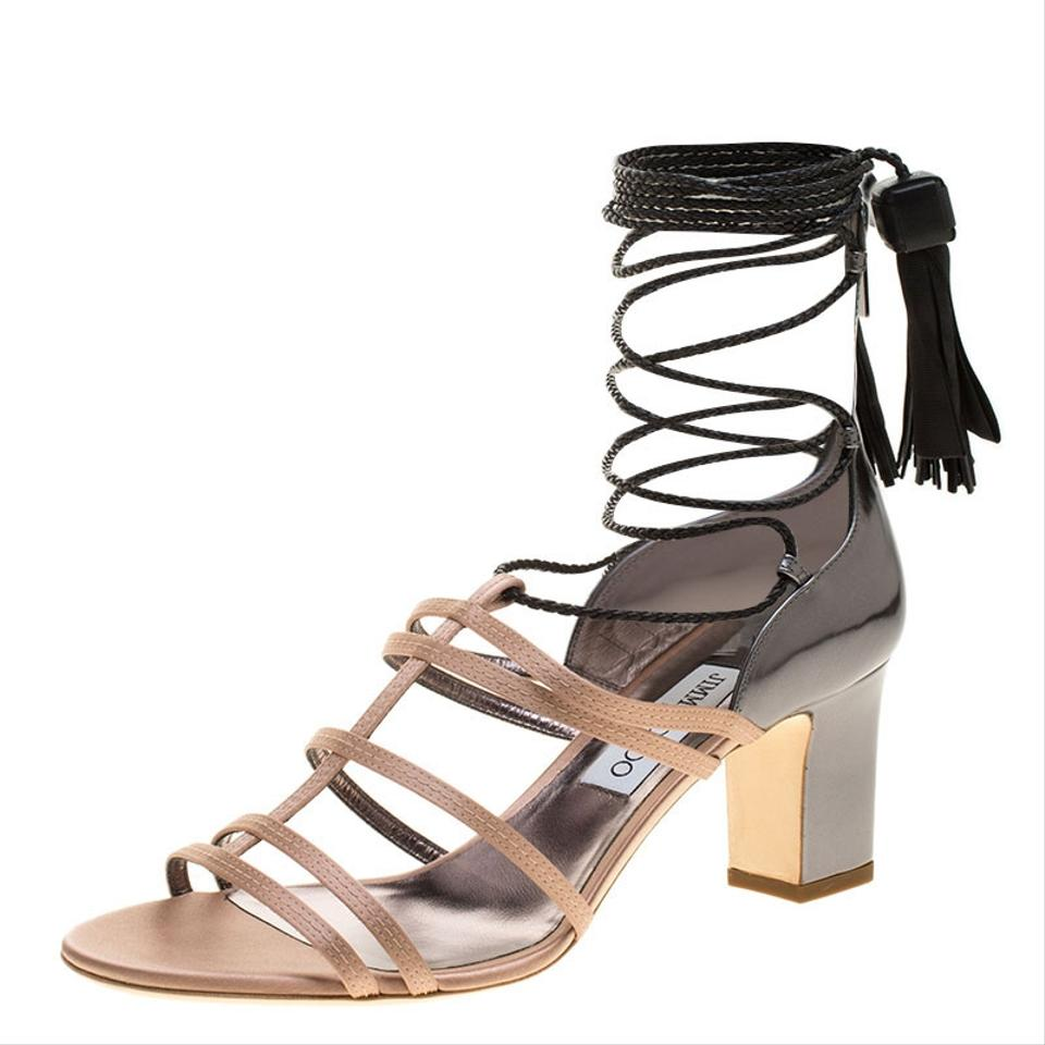 f00e872feef Jimmy Choo Beige Satin and Metallic Leather Diamond Ankle Tie Up Sandals.  Size  EU 40 (Approx. US 10) ...