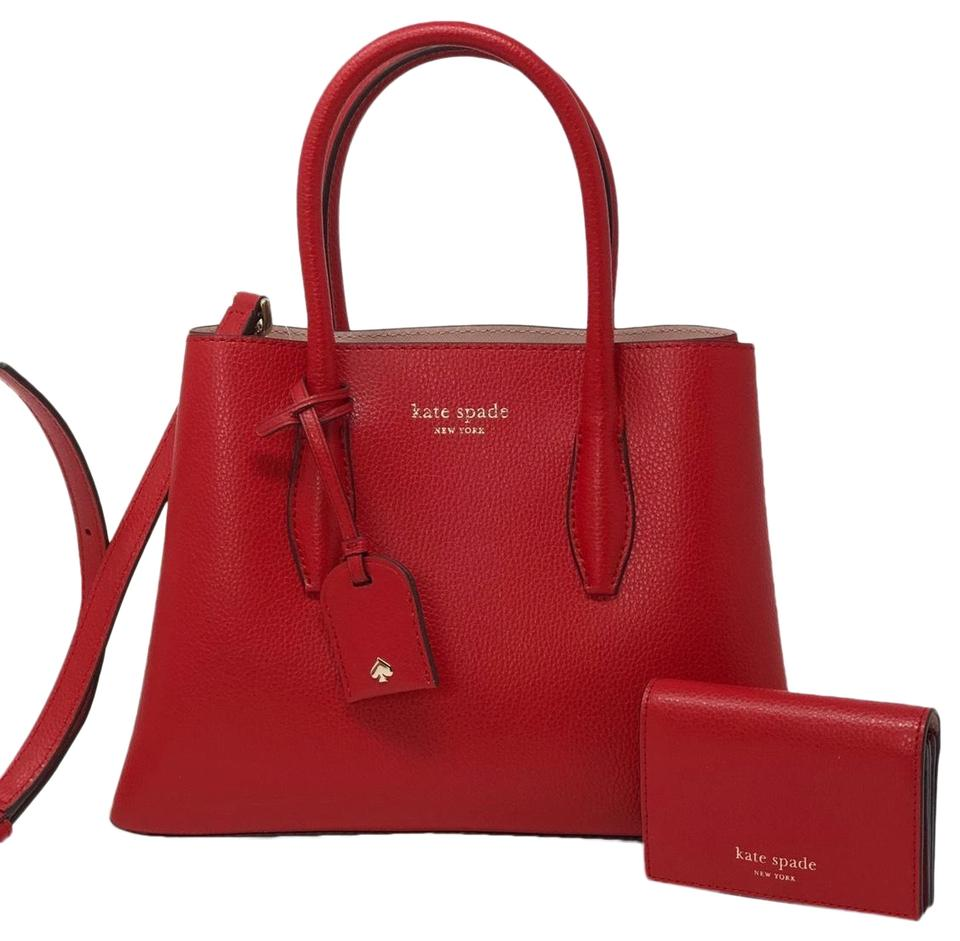 modern and elegant in fashion size 7 special promotion Kate Spade 2pcs Eva Small Satchel&wallet Set Red Leather Satchel