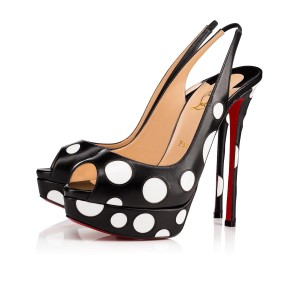 Christian Louboutin Sandals Open Toe Polka Dot Sling Black/White Platforms