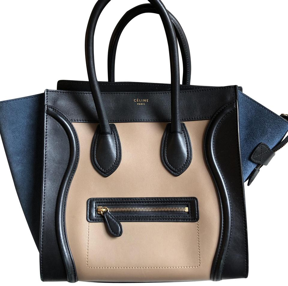 0c9e5d7db0f3 Céline Luggage Tricolor Mini Black Beige Blue Suede Leather Tote ...