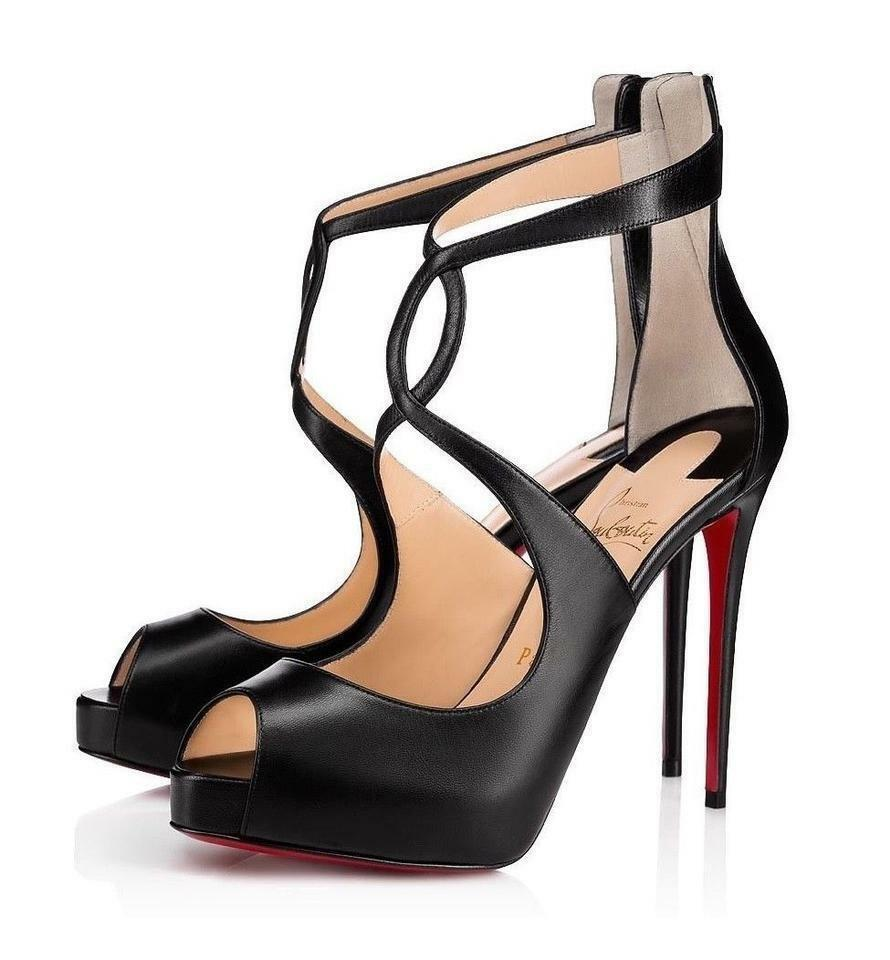 9fa3fe992249 Christian Louboutin Black Rosie 120 Leather Crisscross Strap Pumps Heels  Sandals Platforms. Size  EU 35 ...