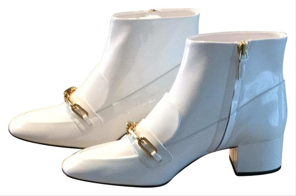 4e63b6a1b99 Burberry Gold Hardware Patent Leather Luxury Embellished Embroidered White  Boots Image 0 ...