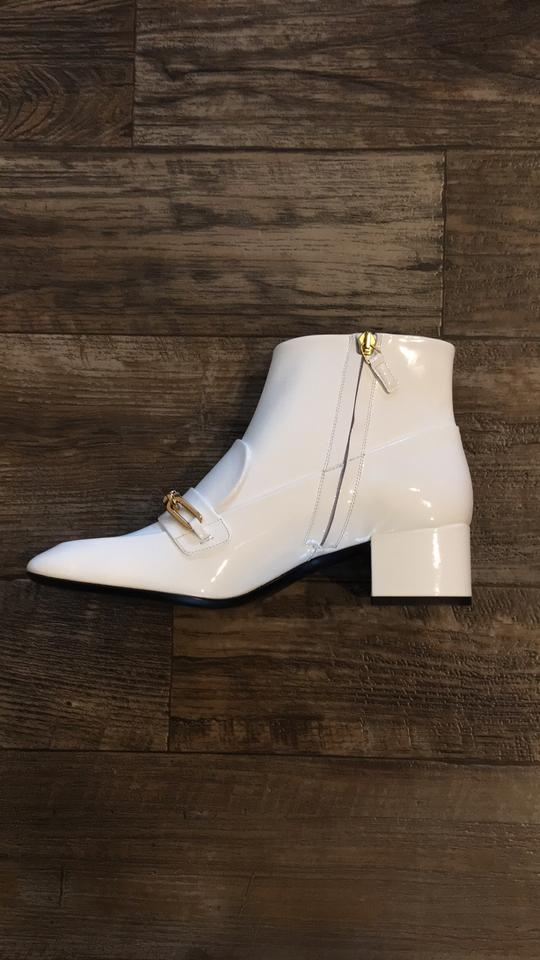 c80c3ef3812 Burberry Gold Hardware Patent Leather Luxury Embellished Embroidered White  Boots Image 7. 12345678