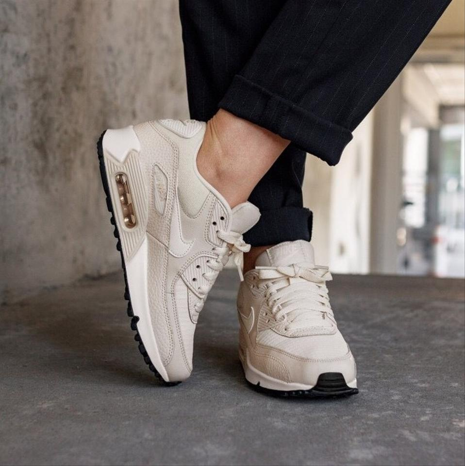 various colors e5c26 43275 Nike Cream Women s Air Max 90 Light Leather and Mesh Upper Fabric ...