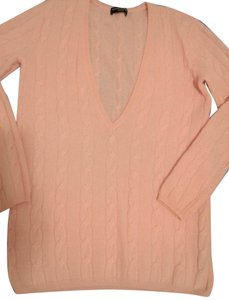 Sutton Studio Extra Soft Cashmere Long V-neck Cable Knit Pattern Sweater