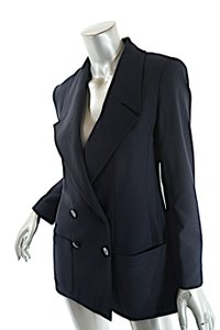 Chanel Boutique Dark Wool Double Breasted Navy Blazer