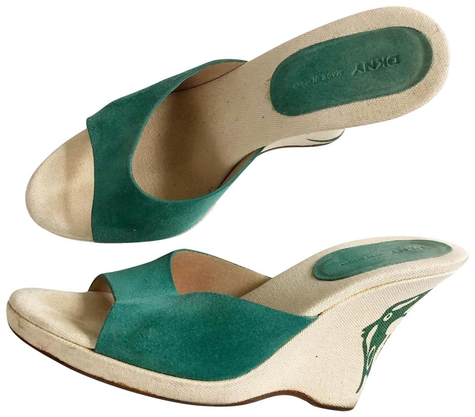 Dkny Green Suede Wedge Mulesslides Size Us 8 Regular M B Tradesy