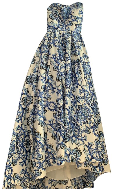Item - Blue and White with Sand Color Flecks Ball Gown Long Formal Dress Size 0 (XS)