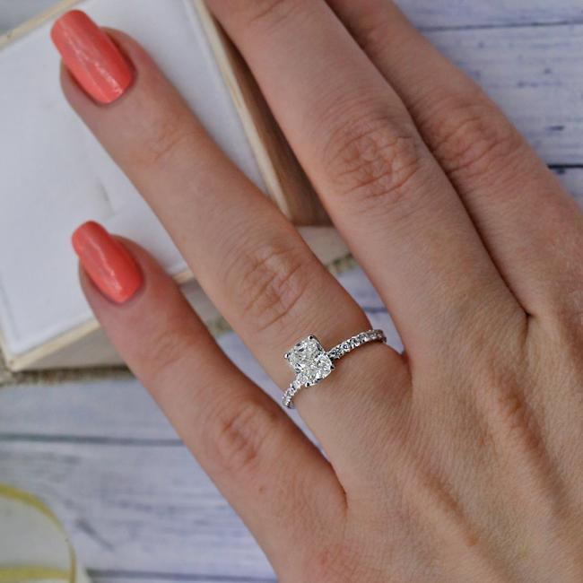Item - 14k White Gold With Center Cushion Cut 1.03ct Engagement Ring