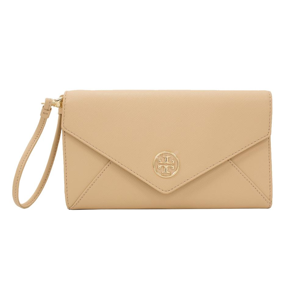 08ce2f8fad63 Tory Burch Leather Robinson Envelope Clutch 190041276813 Wristlet in  Toasted Wheat Image 0 ...