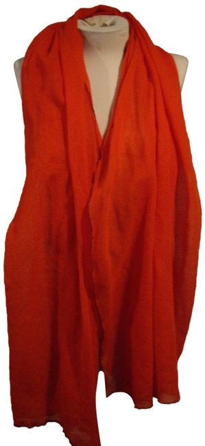 Item - Red Gauzy Wool with Color Edging Scarf/Wrap