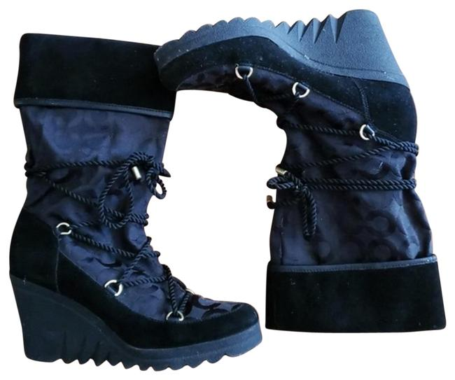 Item - Black Logo Wedge Boots/Booties Size US 7.5 Regular (M, B)