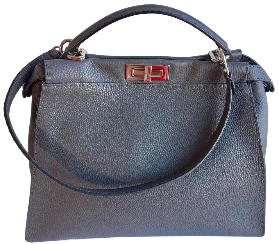 bbae33672f3e Fendi Large Peekaboo Grey Roman Leather Tote - Tradesy