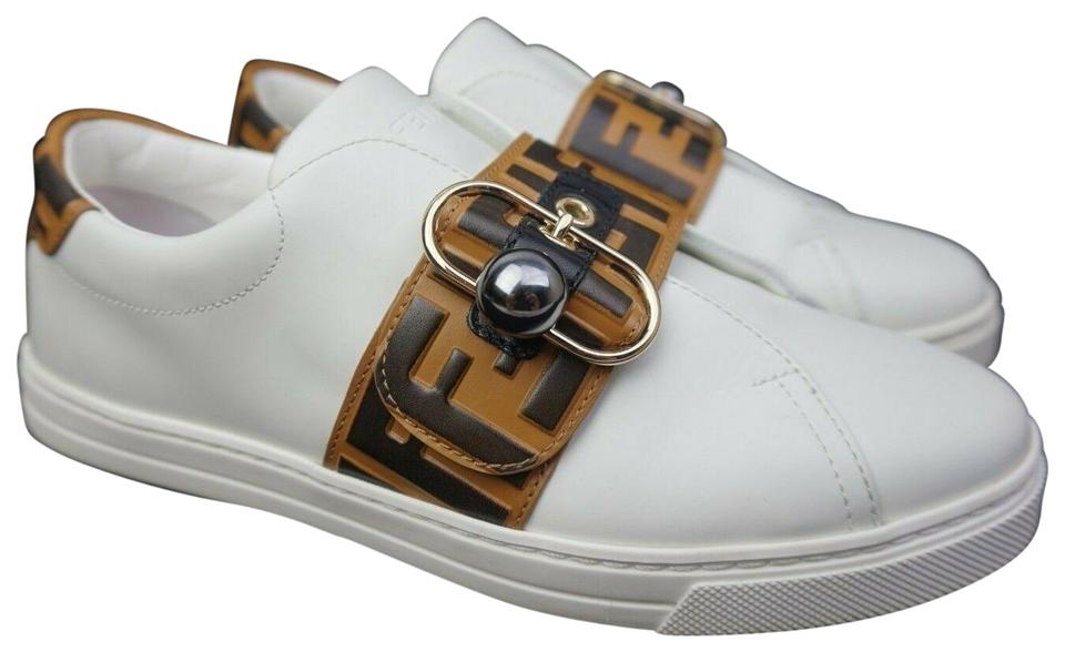 e871bc732153 Fendi White Pearland Logo Slip-on Sneaker Women s Leather Brown Sneakers