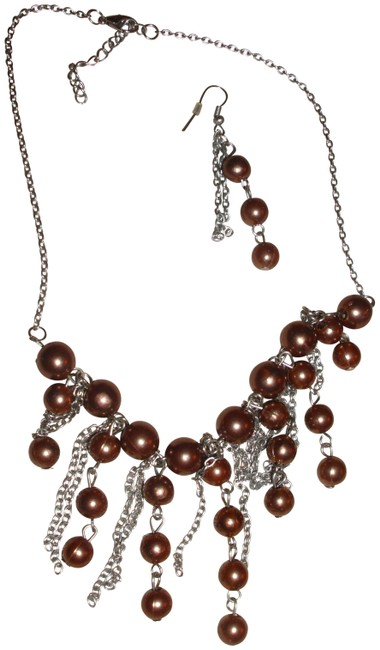 Item - Brown Artsy Necklace & Earring Set Pearlized Beaded Fringe Dangle